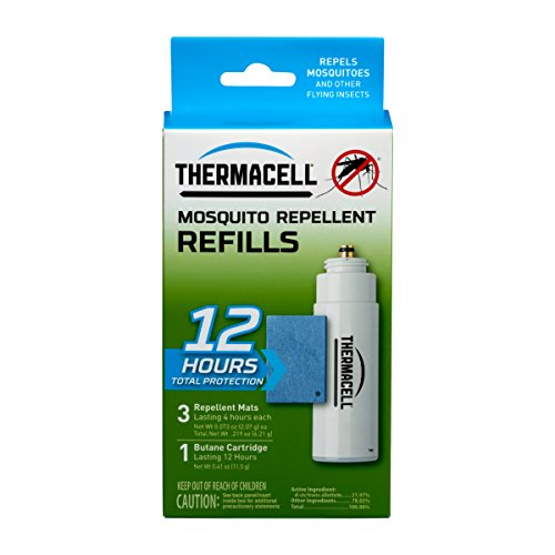 ThermaCELL R-1(CA) Mosquito Repeller Refill,12 HourPack (3 Repellent Mats and 1 Butane Cartridge)
