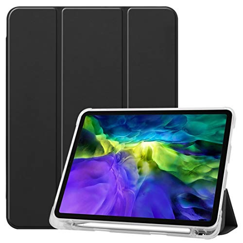 ZHENGNING Protective Case For iPad Pro 11 inch (2020) Three-folding Horizontal Flip PU Leather + Clear TPU Back Cover Case with Sleep/Wake-up Function & Holder & Pen Slot Smartphone Slim Cover Shell