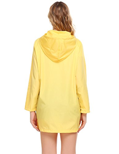 SoTeer Women's Raincoat Lightweight Rain Jacket Long Sleeve Outdoor Waterproof Yellow Hooded Jacket Windbreakr Raincoats, Medium