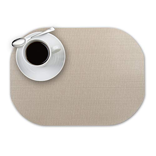 Andie Home Oval Placemats for Kitchen Table and Dining Room, Heat-Resistant and Surface Washable Placemat, 6-Piece Set, Wheat Beige