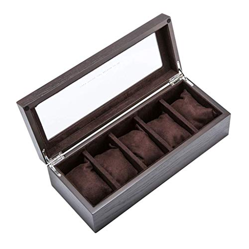 XYZMDJ Joyería de Box-Caja de Reloj de joyería de Madera Caja de almacenaje de la exhibición de la mancuerna Relojes Organizador con Cojines Desmontables y Metal de Cierre de