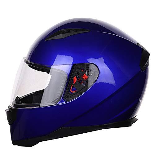 MOTUO Integralhelm mit Sonnenblende Fullface MTB Motorradhelm Geeignet für Damen Herren Kinder, ECE-R Zertifiziert,Blau,S