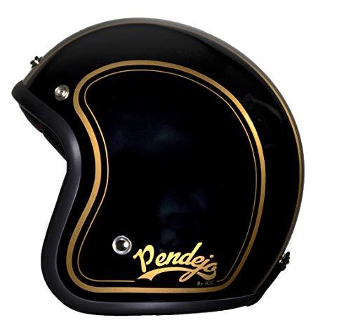 Casco de moto jet Pendejo classic en negro con detalles en dorado by Iguana Custom Collection con corchetes para pantallas y tira de cuero sujeta gafas. (XL)