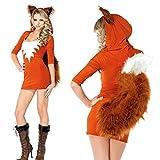 mooderff Fuchs Damen Kostüm Sexy Tierkostüm Erwachsene Tier Kunstpelz Cartoon Cosplay Kleid,...