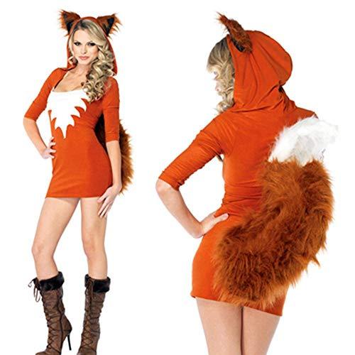 mooderff Fuchs Damen Kostüm Sexy Tierkostüm Erwachsene Tier Kunstpelz Cartoon Cosplay Kleid, Rollenspiel Kostüm Für Geburtstagsfeier