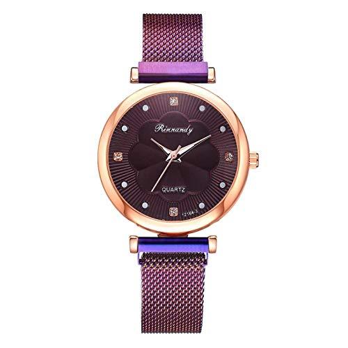 yuge Moda 5 piezas reloj de mujer lujo imán hebilla flor Rhinestone reloj señoras cuarzo reloj pulsera conjunto 1pcpurple