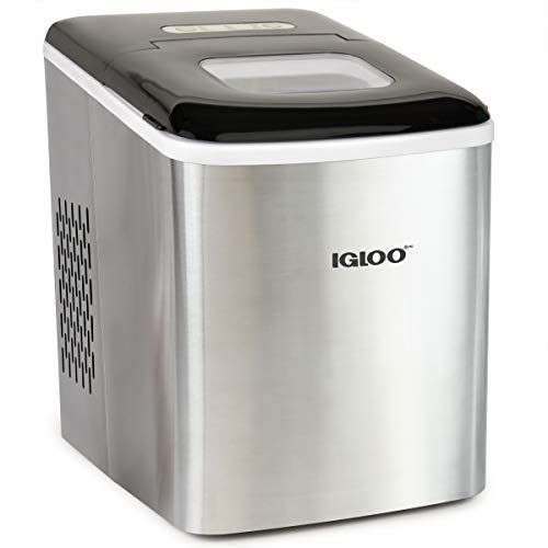 Igloo ICEBNH26SS Stainless Steel Automatic Self-Cleaning Portable Electric Countertop Maker Machine, 26 Pounds in 24 Hours, 9 Cubes Ready in 7 Minutes, with Ice Scoop and Basket
