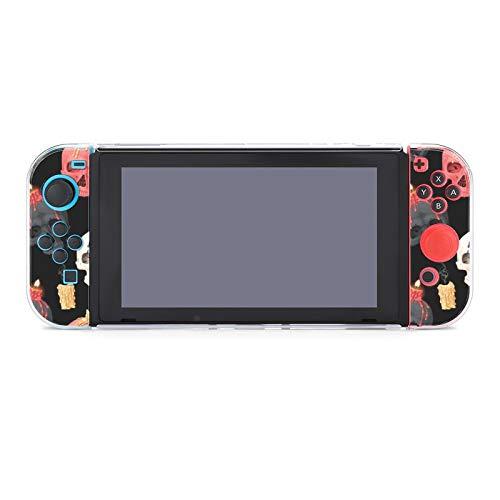 Hülle für Nintendo Switch Totenkopf und Kerze Fünfteiliges Set Schutzhülle Case Kompatibel mit Nintendo Switch Spielekonsole