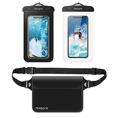 TENQUAN 2 fundas impermeables para teléfono móvil y 1 bolsa impermeable para guardar la cintura con correa para el hombro, color negro (2 fundas + 1 bolsa)