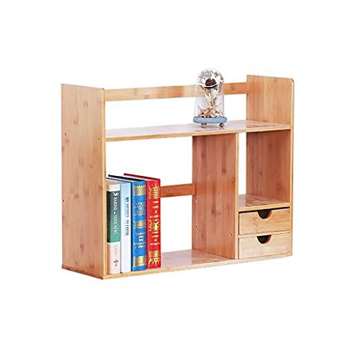 WFS Estante Desktop Bookshelf Tabletop Storage Rack Desk Manking Pantalla Estantería con cajón de Almacenamiento para Oficina y hogar Robusto (Color : Yellow, tamaño : Medio)