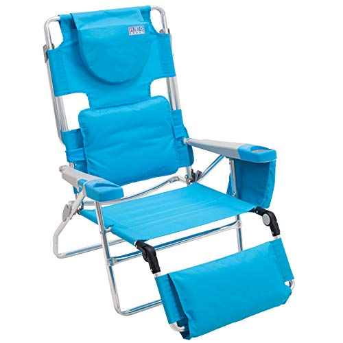 Rio Beach Face Opening Sunbed High Seat Beach Chair & Lounger, Blue