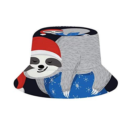 Lindo bebé perezoso mentira en el azul bola de Navidad adorable animal con sombrero de Santa Feliz Navidad Unisex Moda Cubo sombrero verano pescador Cap sombrero sol