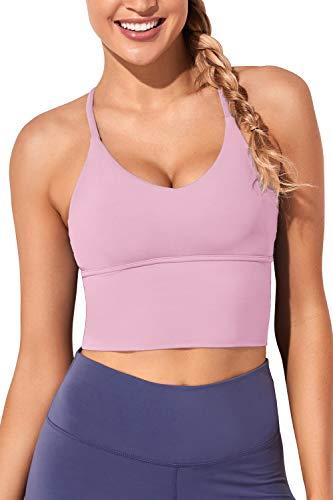 Women Sports Bras Longline Fitness Crop Tops Tank Gym Camisole Yoga Workout Running Shirts Pink Purple