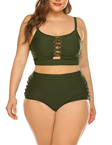 IN'VOLAND Women's Plus Size Army Green Swimsuit Push up Halter Bikini Mermaid Costumes Set