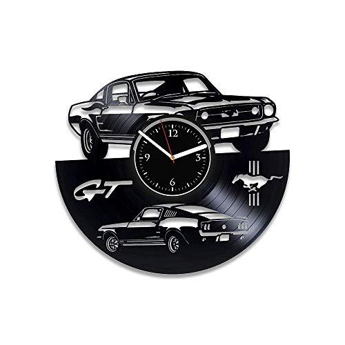 JYJYJ Schallplattenuhr Ford Mustang Vinyl Uhr Mustang Wanduhr Oldtimer Uhr Geschenk Herren Mustang Schallplatte Uhr Mustang