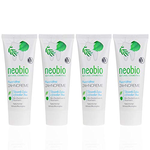 NEOBIO Zahncreme ohne Fluorid (4 X 75 Ml), Rosmarin Und Zaubernuss Geschmack, Bio Zahnpasta, Vegan, Fluoridfrei, Naturkosmetik