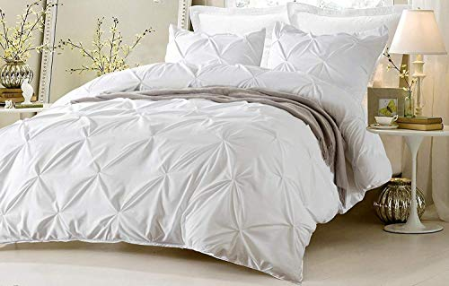 Kotton Culture Pinch Pleated 3 Piece Duvet Cover Set 100% Egyptian Cotton 600 Thread Count with Zipper & Corner Ties Tuffed Pattern Decorative (Queen/Full, White)