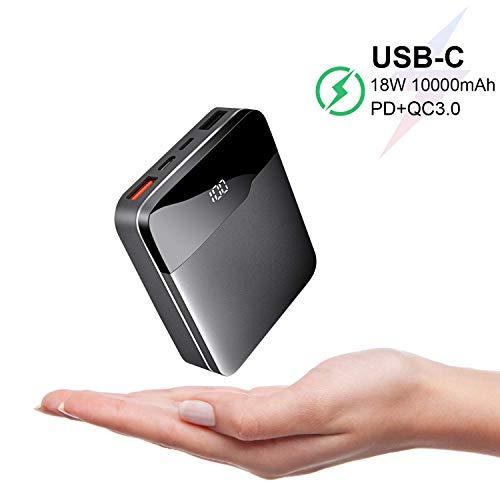 ElephantStory Powerbank Klein 10000mAh, Mini Powerbank Schnellladung USB QC 3.0 PD Ladegerät mit LCD-Anzeige, Externer Akku Kompatibel mit iPhone, iPad, Samsung, Huawei (Schwarz) MEHRWEG