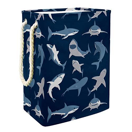 EZIOLY Cesta para la colada, diseño de tiburón azul océano, plegable, con asas y soportes desmontables, resistente al agua, para la ropa, juguetes, organización en la sala de lavandería, dormitorio
