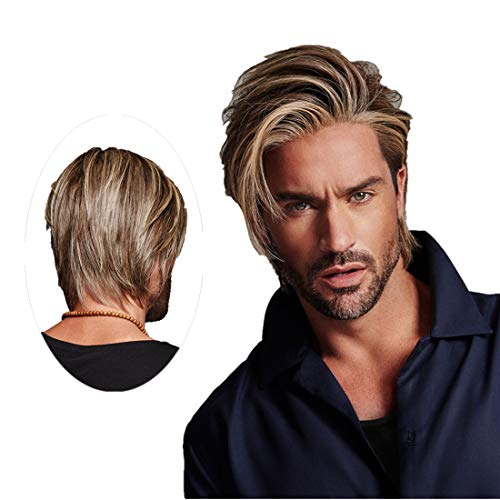 Swiking Men Wig Short Blonde Brown Layered Natural Synthetic Hair Full Wigs for Male Guy Daily Party Wear