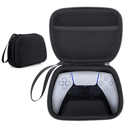 Funda para el mando de PS5, HONEYWHALE Bolsa de transporte de EVA Organizador Cubierta protectora de alta resistencia para el mando inalámbrico de Sony PlayStation 5 DualSense 2020 (Negro)