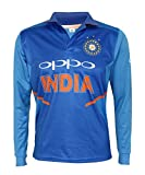 KD Cricket India Jersey Full Sleeve Cricket Supporter T-Shirt New Oppo Team Uniform 2019-20 Kids to Adults (Plain, 46)