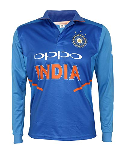KD Cricket India Jersey Full Sleeve Cricket Supporter T-Shirt New Oppo Team Uniform 2019-20 Kids to Adults (Plain, 36)