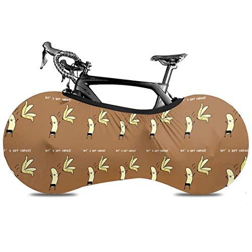 Lovely Huskies Hermano Cubierta de Bicicleta Portátil Cubierta de Interior Anti Polvo Alta Elástica Cubierta de Rueda de Bicicleta Protector Rip Stop Neumático Carretera MTB Bolsa de Almacenamiento, Vamos a conseguir plátano desnudo, talla única