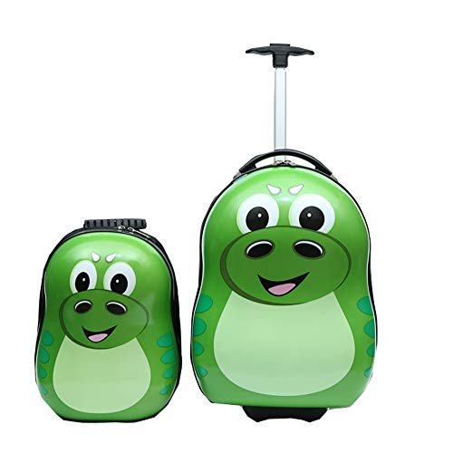 2PC ABS Kids Luggage Set, 13 inches Backpack 16 inches Suitcase Carry on Rolling Trolley Case for School Travel Children Girls Boys (C)