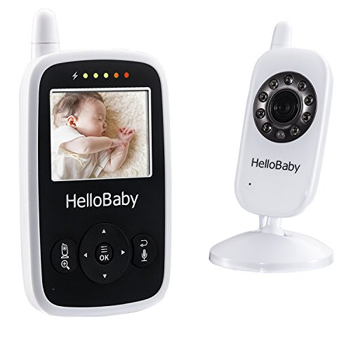 Image of Hello Baby Wireless Video Baby Monitor with Digital Camera HB24, Night Vision Temperature Monitoring & 2 Way Talkback System, White
