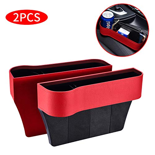 2 Packs Car Seat Gap Filler PU Car Seat Organizer with Cup Holder, Car Console Side Organizer for Cellphone,Wallet, Cup Holder, Various Cards (Light Red)