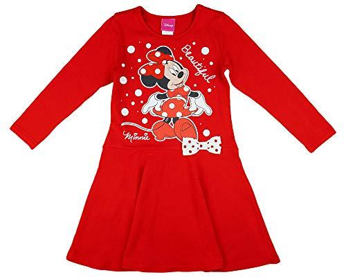 Disney Baby Mädchen Lang-arm Freizeit-Kleid mit schönem Rock mit Minnie Mouse in Gr. 74 80 86 92 98 104 110 116 122,1 2 3 4 5 6 7 Jahre Farbe Modell 12, Größe 104