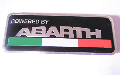 Abarth Badge Italien-Flagge, angetrieben von Abarth, Metall-Emblem, selbstklebend