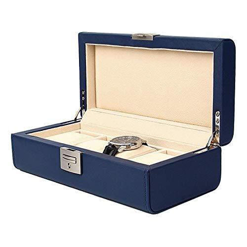 KDMB Caja de Reloj Cajas de Almacenamiento de Reloj de Cuero PU de 4 Ranuras Cajas de exhibición de joyería para Hombres Organizador de Reloj con Cerradura y Llaves Azul