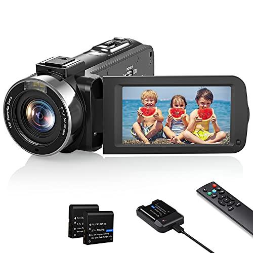 Videokamera 1080P Camcorder, Vlogging Kamera Recorder FHD 30FPS 36 MP für YouTube, IR Nachtsicht Camcorder 3.0 \'\' IPS-Bildschirm 16X Digital Zoom Digitalkamera mit Fernbedienung und Akkuladegerät