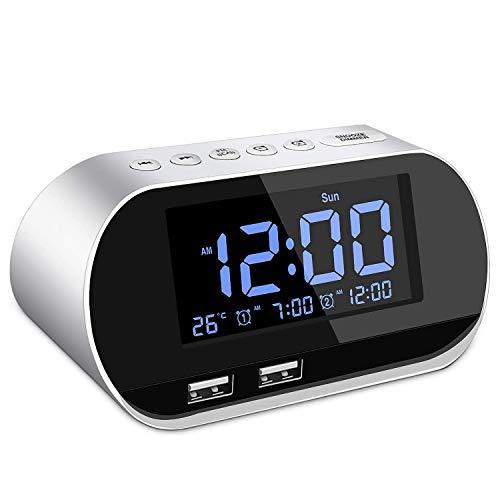 Suading Radio Reloj Despertador, FM con Temporizador de Apagado, Carga de Puerto USB Dual, Pantalla Digital, con AtenuacióN, Volumen Ajustable (Blanco)