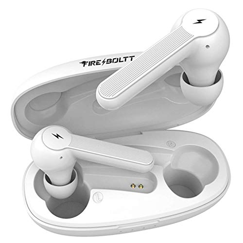 Fire-Boltt Buds 1200 True Wireless Earbuds, Auto Noise Cancellation, BT5.0, Full Smart Touch Control Bluetooth Earphones with Voice Assistance & HD Stereo Sound (White)