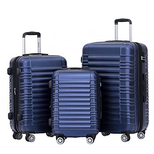 BEIBYE Hartschalen Koffer Trolley Rollkoffer Reisekoffer Zwillingsrollen Kofferset (Dunkelblau, Set)
