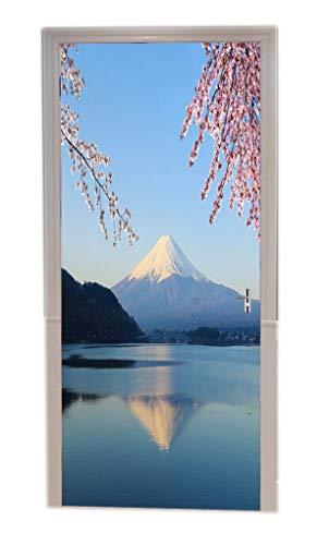 A.Monamour Türtapeten Selbstklebend 3D Mount Fuji Mit Kirschblüten-Ansicht Von Japan Lake Kawaguchiko Naturlandschaft Türtapete Türposter Tapete 77x200cm