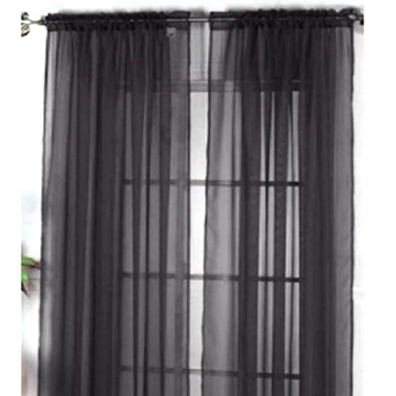 ウィンク細部割り当てるHomyl 2枚入り 薄手 窓 ドア カーテン パネル ドレープ チュール ルーム バルコニー デバイダ 黒 100x200cm