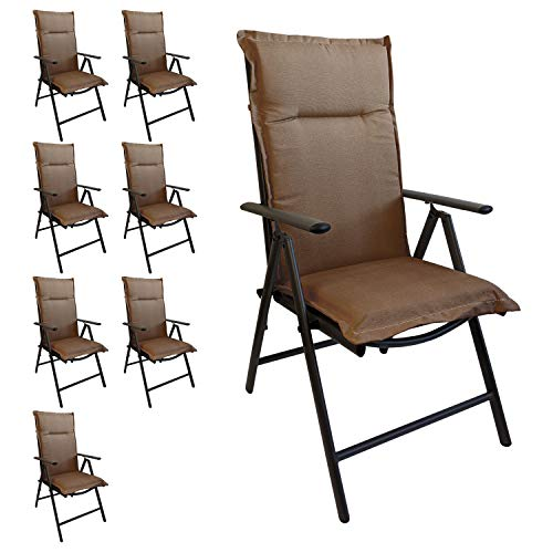 Multistore 2002 8er Set Elegante Gartenstuhlauflage Stuhlauflage Polsterauflage Hochlehner Taupe 120x45cm - 5cm dick Sitzauflage Sitzpolsterauflage Sitzkissenpolster