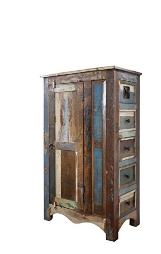 MASSIVMOEBEL24.DE Kommode Schrank Vintage Altholz lackiert 70x40x120 cm Nature of Spirit #58