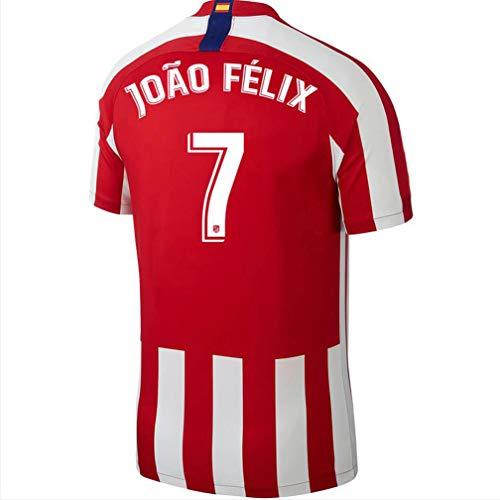 Randell 19/20 Atletico Madrid 7 Felix Jersey Home Soccer Jerseys Red Football T-Shirt (Large)
