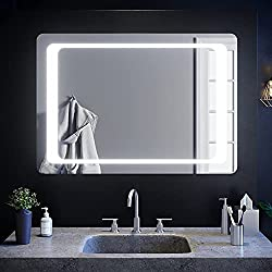 Infrared heated demister bathroom mirror