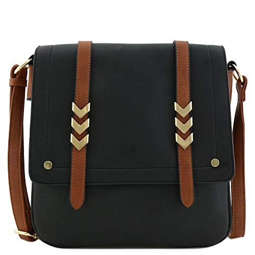 Double Compartment Large Flapover Crossbody Bag with Colorblock Straps (Black/Brown)