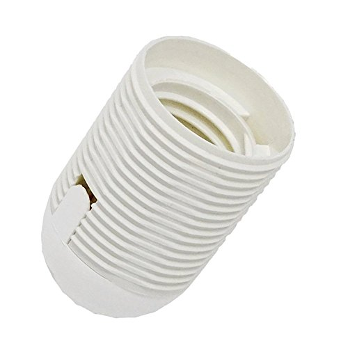 Fassung E27 Thermoplast mit Gewindemantel und Aufsteckkappe M10x1 Kunststoff-Fassung Weiß