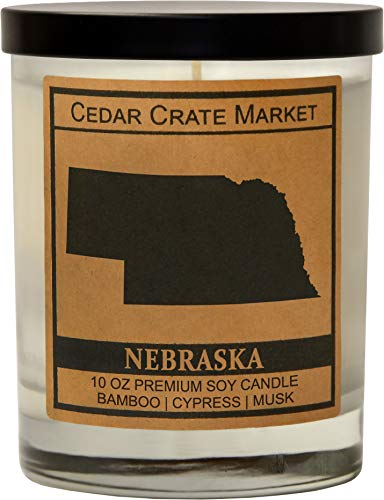Nebraska Kraft Label Scented Soy Candle, Bamboo, Cypress, Musk, 10 Oz. Glass Jar Candle, Made in The USA, Decorative Candles, Going Away Gifts for Friends, State Candles