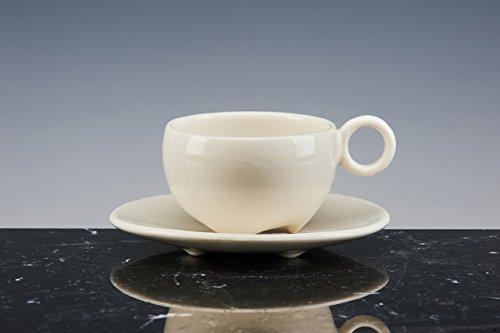 Mug de SAN MARCO Boule à thé et à café Porcelaine émaillée blanche ; Lot de 2 tasses avec PIATTO. fait à la main tasses design !
