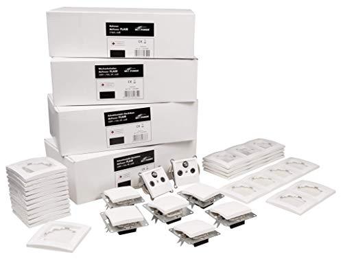 MC POWER - FLAIR - Wand Steckdosen und Schalter Set | Einfamilienhaus | 95-teilig | weiß, matt