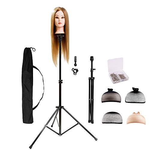 HYOUJIN Wig Stand Metal Adjustable Cosmetology Hairdressing Training Mannequin Head Tripod Stand for Hair Extensions Canvas Block Wig Head